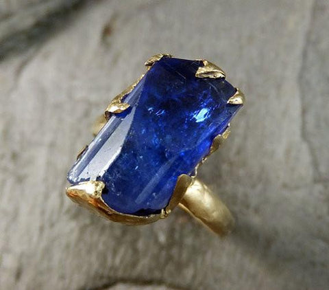 Raw Natural Tanzanite Crystal yellow Gold Ring Rough Uncut Gemstone tanzanite recycled 14k stacking cocktail statement byAngeline 0051 - Gemstone ring by Angeline