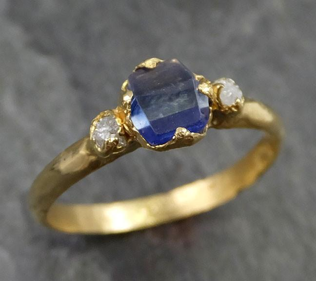 Naturally faceted Sapphire Raw Rough Diamond 18k Yellow Gold Engagement Ring Wedding Ring Custom One Of a Kind Gemstone Three stone Ring byAngeline 0451 - Gemstone ring by Angeline