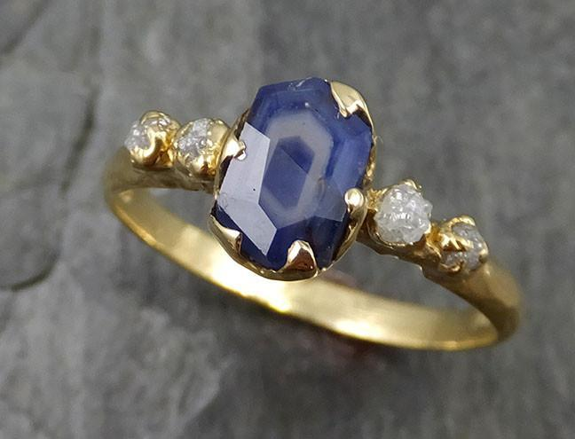 Partially faceted natural crystal sapphire Gemstone and Raw Rough Diamond 18k Yellow Gold Engagement multi stone 0453 - Gemstone ring by Angeline