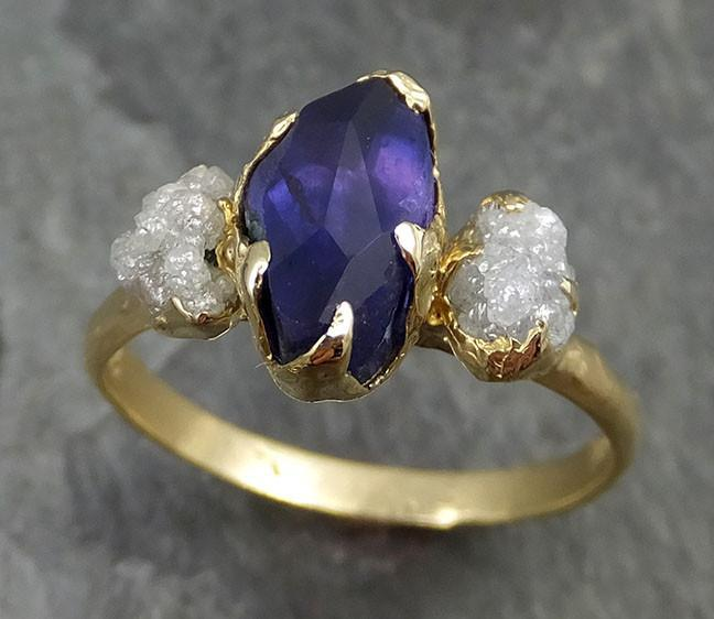 Partially Faceted Sapphire Raw Multi stone Rough Diamond 18k Gold Engagement Ring Wedding Ring Custom One Of a Kind Violet Gemstone Ring Three stone 0454 - Gemstone ring by Angeline
