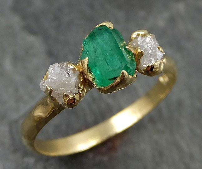 Raw Rough Emerald Conflict Free Diamonds 18k yellow Gold Ring One Of a Kind Gemstone Engagement Wedding Ring Recycled gold 0455 - Gemstone ring by Angeline