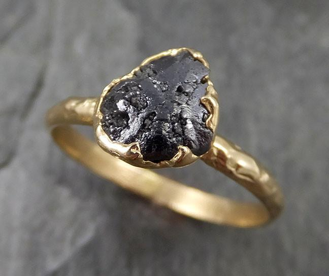 Rough Raw Black Diamond Solitaire Engagement Ring Raw 14k Gold Wedding Ring Wedding Solitaire Rough Diamond Ring byAngeline 0456 - Gemstone ring by Angeline