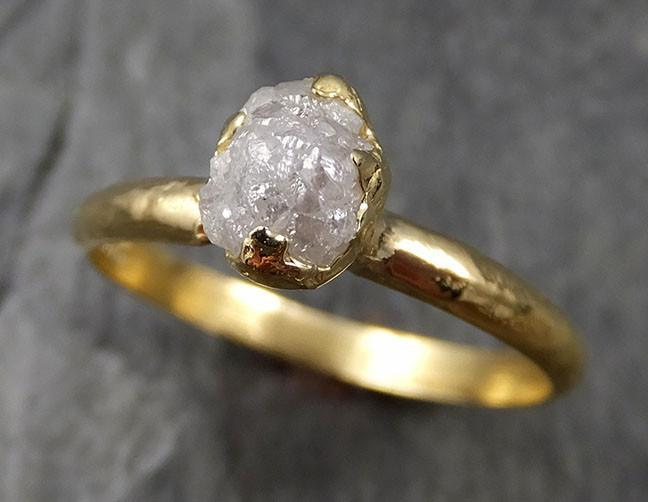 Diamond solitaire Engagement Ring 18k Rough yellow gold Uncut Conflict Free Diamond Wedding Promise byAngeline 0460 - Gemstone ring by Angeline
