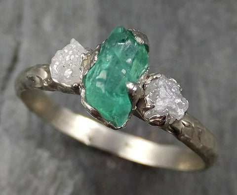 Three raw Stone Diamond Emerald Engagement Ring 14k Multi stone white Gold Wedding Ring Uncut Birthstone Stacking Rough Diamond Ring byAngeline 0465 - Gemstone ring by Angeline