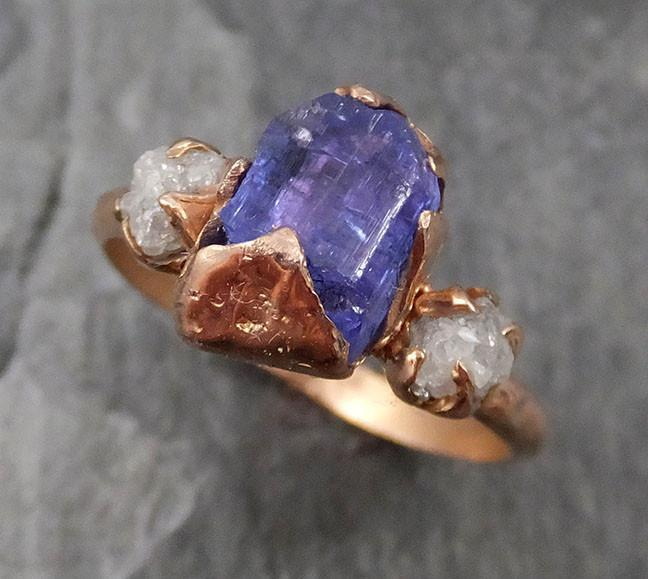 Raw Diamond Tanzanite Crystal Gemstone 14k Ring Multi stone Wedding Ring One Of a Kind Three stone Ring 0466 - Gemstone ring by Angeline