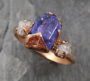 Raw Diamond Tanzanite Crystal Gemstone 14k Ring Multi stone Wedding Ring One Of a Kind Three stone Ring 0466