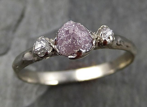 Rough Pink Grey Diamond Engagement Ring Raw 14k White Gold Wedding Ring diamond Multi stone Rough Diamond Ring 0467 - Gemstone ring by Angeline