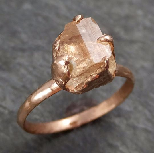 Raw Rough Champagne Pink Topaz 14k Rose gold Solitaire Ring Gold Pink Gemstone Engagement Statement Ring Raw gemstone Jewelry 0280.1 - Gemstone ring by Angeline