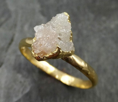18k Raw Diamond Solitaire Engagement Ring Rough Gold Wedding Ring diamond Wedding Ring Rough Diamond Ring 0470 - Gemstone ring by Angeline