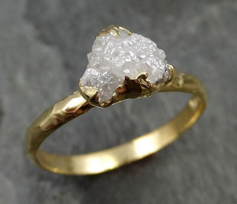 18k Raw Diamond Solitaire Engagement Ring Rough yellow Gold Wedding Ring diamond Wedding Ring Rough Diamond Ring 0471 - Gemstone ring by Angeline