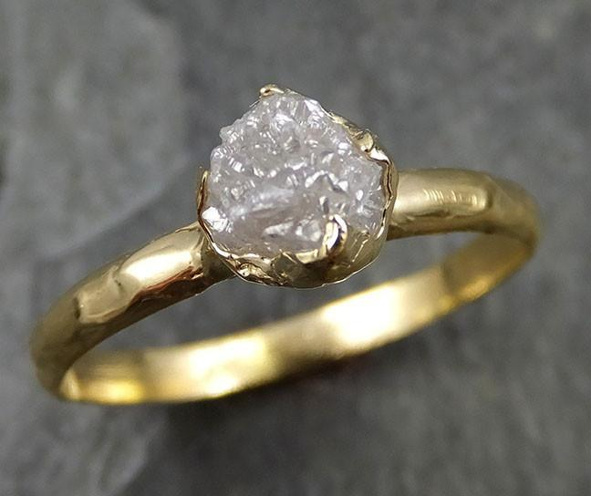 18k Raw Diamond Solitaire Engagement Rough yellow Gold Wedding Ring diamond Wedding Ring Rough Diamond Ring 0472 - Gemstone ring by Angeline