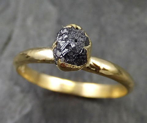 18k Raw Black Diamond Solitaire Engagement Ring Rough Gold Wedding Ring diamond Wedding Ring Rough Diamond Ring 0473 - Gemstone ring by Angeline