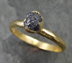 18k Raw Black Diamond Solitaire Engagement Ring Rough Gold Wedding Ring diamond Wedding Ring Rough Diamond Ring 0473