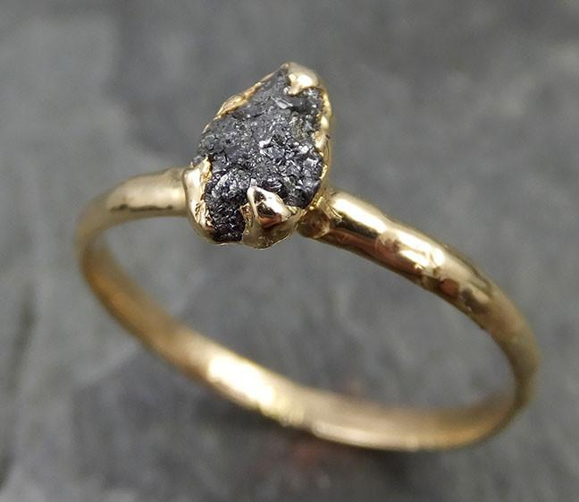 18k Raw Black Diamond Solitaire Engagement Ring Rough yellow Gold Wedding Ring diamond Wedding Ring Rough Diamond Ring 0474 - Gemstone ring by Angeline