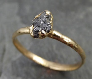18k Raw Black Diamond Solitaire Engagement Ring Rough yellow Gold Wedding Ring diamond Wedding Ring Rough Diamond Ring 0474