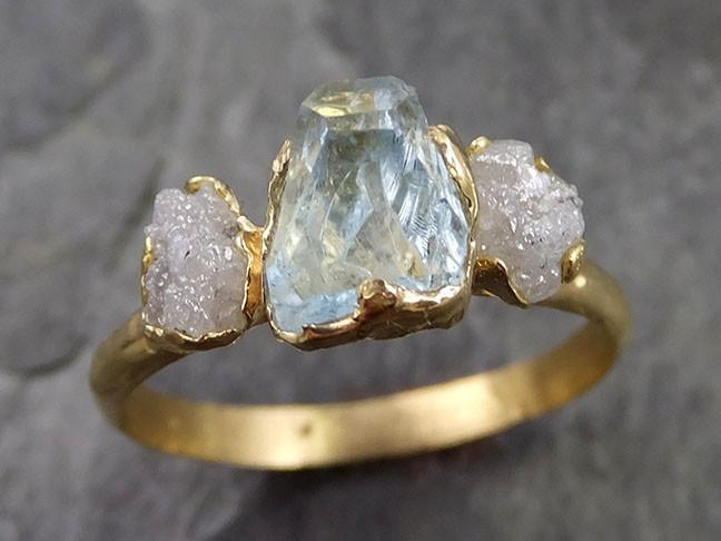 Raw Rough and partially Faceted Aquamarine Diamond 14k yellow Gold Multi stone Ring One Of a Kind Gemstone Ring Recycled gold 0475 - Gemstone ring by Angeline