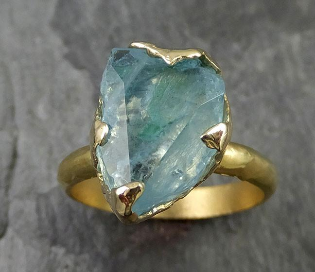 Partially Faceted Raw 18k Aquamarine Solitaire Ring Statement Wedding Ring One Of a Kind Gemstone Ring Bespoke 0478 - Gemstone ring by Angeline