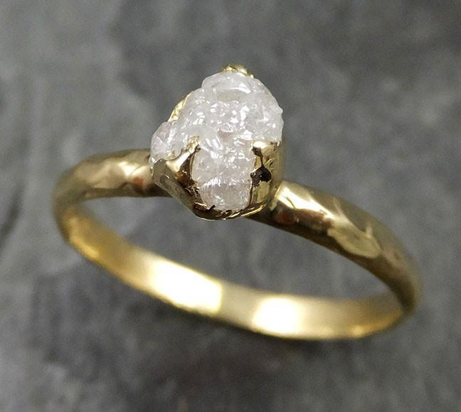 18k Raw Diamond Solitaire Engagement Rough Gold Wedding Ring diamond Wedding Ring Rough Diamond Ring 0479 - Gemstone ring by Angeline