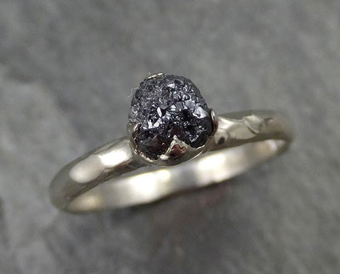 18k Raw Black Diamond Solitaire Engagement Ring Rough White Gold Wedding Ring diamond Wedding Ring Rough Diamond Ring 0480 - Gemstone ring by Angeline