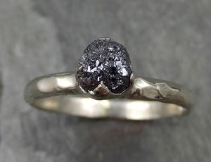 18k Raw Black Diamond Solitaire Engagement Ring Rough White Gold Wedding Ring diamond Wedding Ring Rough Diamond Ring 0480