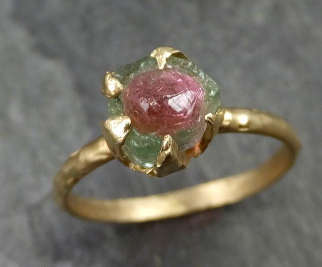Raw Rough Uncut Watermelon Tourmaline yellow Gold Ring Bi Color Ring green Pink Gemstone Crystal 14k recycled 0482 - Gemstone ring by Angeline