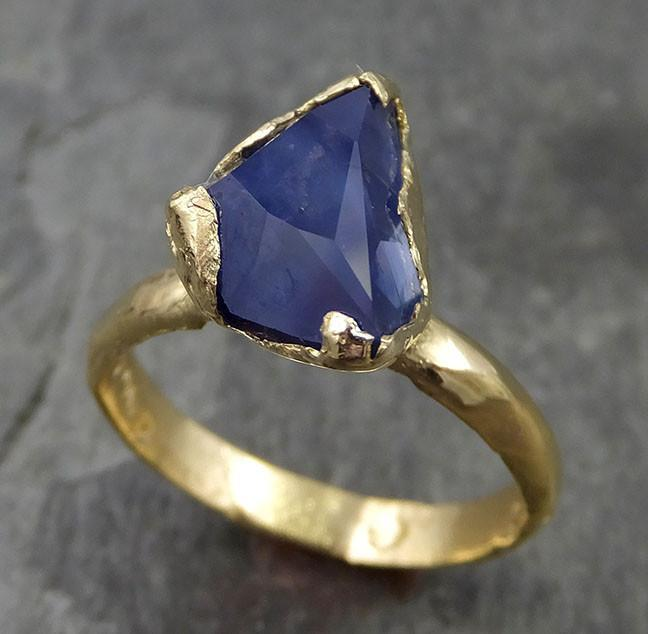 Partially faceted Sapphire Solitaire 18k yellow Gold Engagement Ring Wedding Ring Custom One Of a Kind blue Gemstone 0486 - Gemstone ring by Angeline
