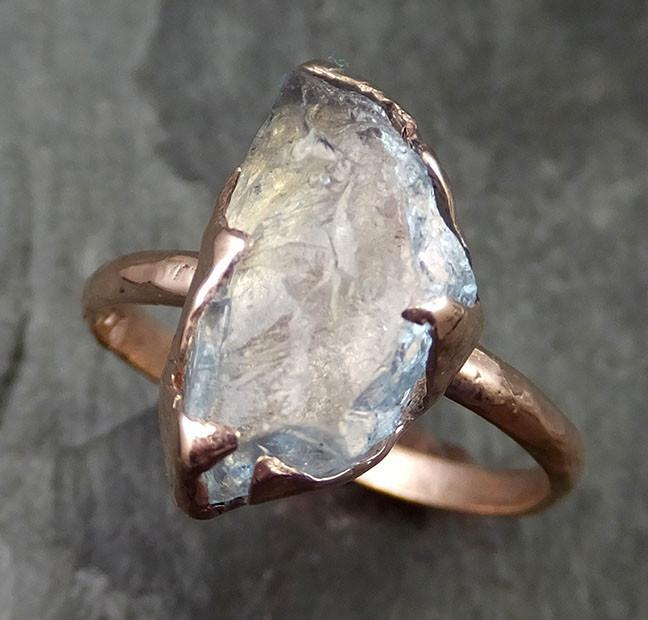 uncut Aquamarine Solitaire Ring Wedding Ring Custom One Of a Kind Gemstone Ring Bespoke byAngeline 0488 - Gemstone ring by Angeline