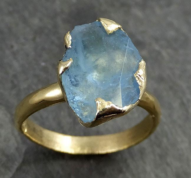 Partially cut Aquamarine Solitaire Ring One Of a Kind Gemstone Ring Bespoke Ring byAngeline 0492 - Gemstone ring by Angeline
