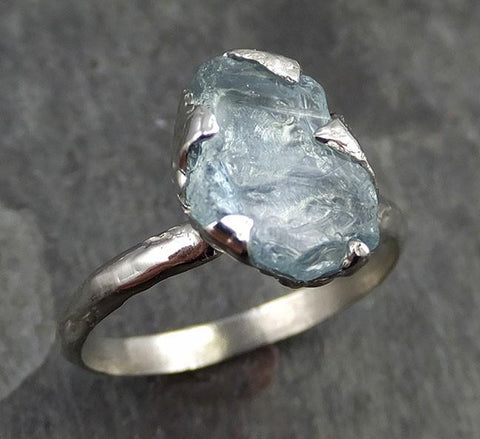 uncut Aquamarine Solitaire Ring Custom One Of a Kind Gemstone Ring Bespoke byAngeline 0494 - Gemstone ring by Angeline