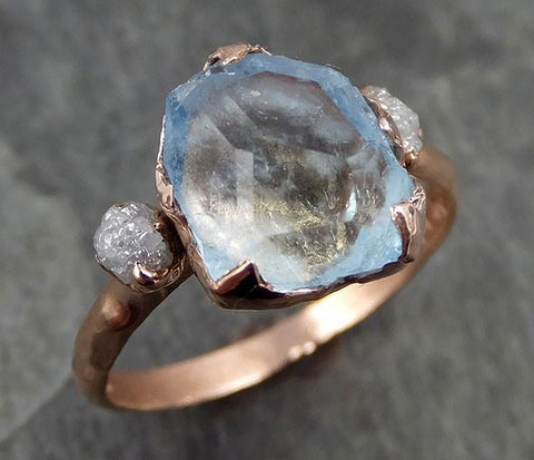 Raw Rough and partially Faceted Aquamarine Diamond 14k rose Gold Multi stone Ring One Of a Kind Gemstone Ring Recycled gold 0496 - Gemstone ring by Angeline