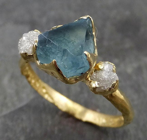 Raw Rough and partially Faceted Aquamarine Diamond 14k yellow Gold Multi stone Ring One Of a Kind Gemstone Ring Recycled gold 0498 - Gemstone ring by Angeline