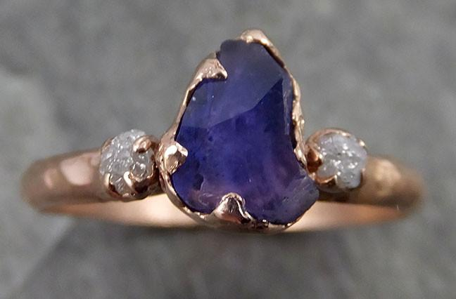 Partially faceted Raw Sapphire Diamond 14k rose Gold Engagement Ring Wedding Ring Custom One Of a Kind Violet Gemstone Ring Multi stone Ring 0499 - Gemstone ring by Angeline