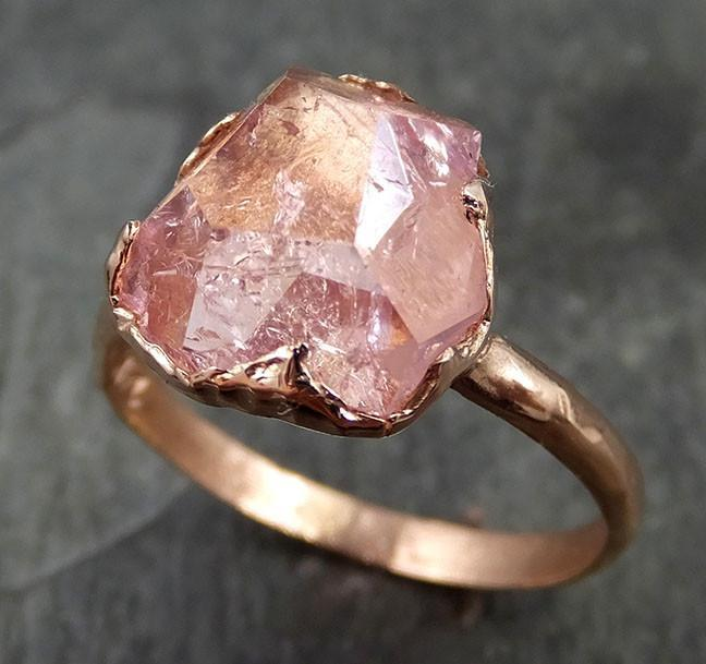 Raw Rough and partially Faceted Pink Topaz 14k rose Gold Ring One Of a Kind Gemstone Ring Recycled gold byAngeline 0500 - Gemstone ring by Angeline