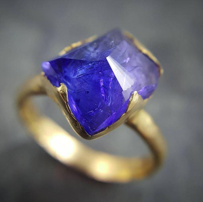 Partially faceted Tanzanite Crystal Solitaire 18k recycled yellow Gold Ring Rough Gemstone tanzanite stacking cocktail statement byAngeline 0487 - Gemstone ring by Angeline