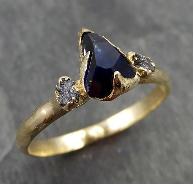 Partially faceted Raw Sapphire Diamond 18k yellow Gold Engagement Ring Wedding Ring Custom One Of a Kind Violet Gemstone Ring Three stone Ring 0501 - Gemstone ring by Angeline