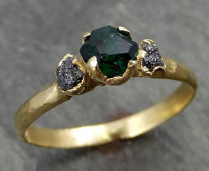partially faceted Emerald Conflict Free Diamonds 18k yellow Gold Ring One Of a Kind Gemstone Engagement Wedding Ring Recycled gold 0503