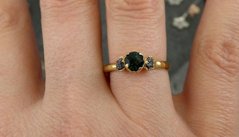 partially faceted Emerald Conflict Free Diamonds 18k yellow Gold Ring One Of a Kind Gemstone Engagement Wedding Ring Recycled gold 0503 - Gemstone ring by Angeline