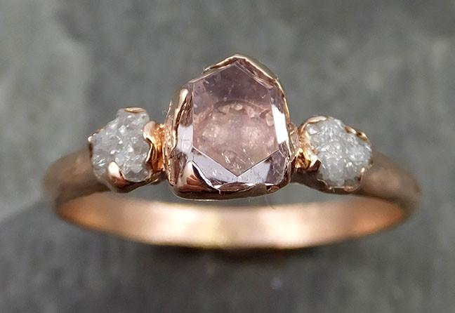 Raw Rough and partially Faceted Pink Topaz Diamond 14k rose Gold Ring One Of a Kind Gemstone Ring Recycled gold byAngeline 0504 - Gemstone ring by Angeline