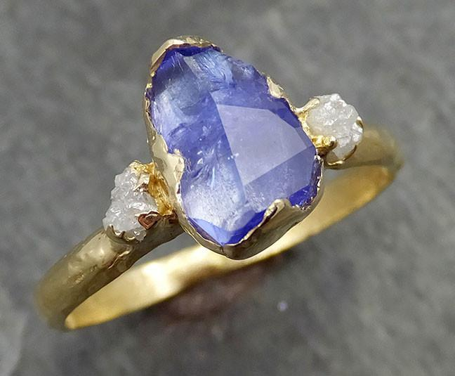 Partially faceted Tanzanite Crystal Gemstone diamond 18k Ring Multi stone Wedding Ring One Of a Kind Three stone Ring 0505 - Gemstone ring by Angeline