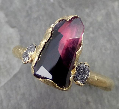 Partially Faceted Sapphire Raw Multi stone Rough Diamond 18k yellow Gold Engagement Ring Wedding Ring Custom One Of a Kind Violet Gemstone Ring Three stone 0507 - Gemstone ring by Angeline