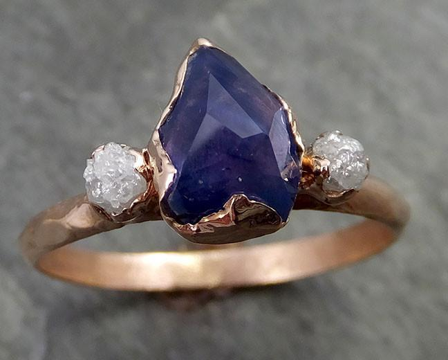 Partially faceted Raw Sapphire Diamond 14k rose Gold Engagement Ring Wedding Ring Custom One Of a Kind Violet Gemstone Ring Multi stone Ring 0510 - Gemstone ring by Angeline