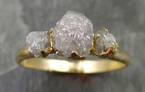 18k Raw Rough Diamond yellow gold Engagement Multi stone Three Ring Rough Gold Wedding Ring diamond Wedding Ring Rough Diamond Ring byAngeline 0512 - Gemstone ring by Angeline