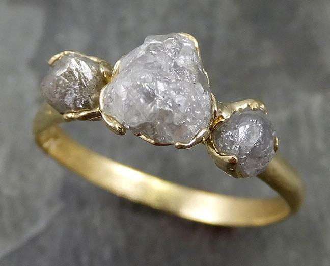 18k Raw Rough Diamond yellow gold Engagement Multi stone Three Ring Rough Gold Wedding Ring diamond Wedding Ring Rough Diamond Ring byAngeline 0513 - Gemstone ring by Angeline