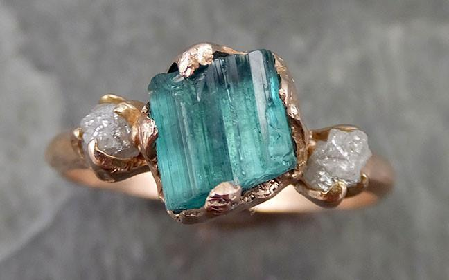 Raw blue green Indicolite Tourmaline Diamond White Gold Engagement Ring Wedding Ring One Of a Kind Gemstone Ring Bespoke Multi stone Ring 0517 - Gemstone ring by Angeline