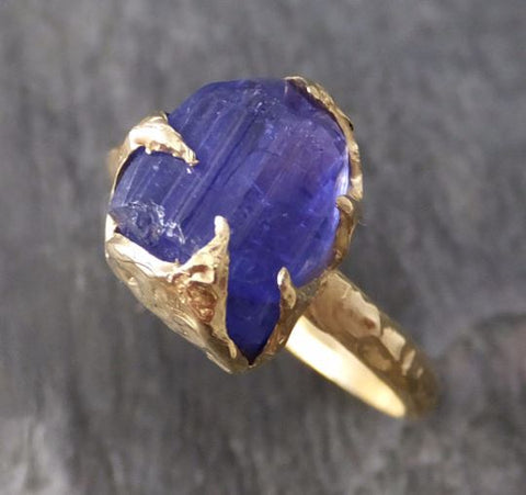 Raw Natural Tanzanite Crystal Gold Ring Rough Uncut Gemstone tanzanite recycled 14k stacking cocktail statement byAngeline 0102 - Gemstone ring by Angeline