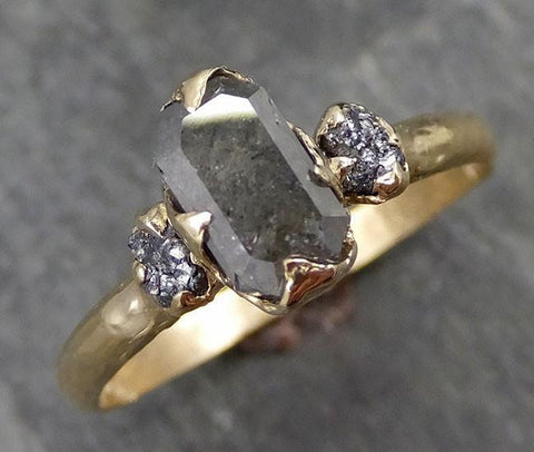 Fancy cut salt and pepper Diamond Engagement 14k yellow Gold Multi stone Wedding Ring Stacking Rough Diamond Ring byAngeline 0518 - Gemstone ring by Angeline