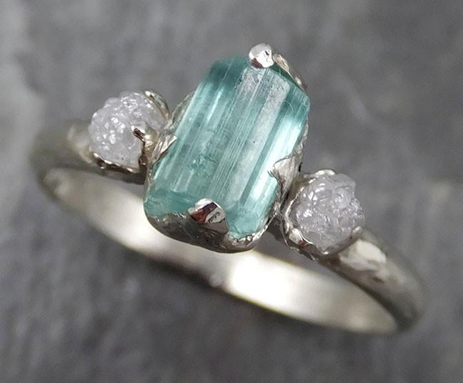 Sea Green Tourmaline Diamond Multi stone White Gold Ring Rough Uncut Gemstone tourmaline recycled 14k Engagement Wedding Ring 0519 - Gemstone ring by Angeline