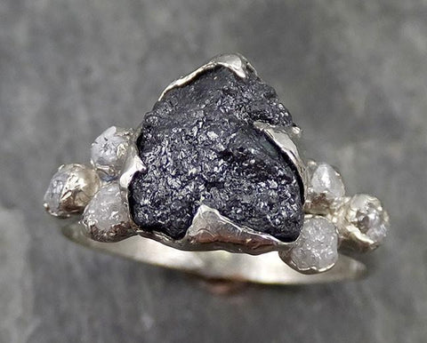 Raw Rough Black Diamond Multi Stone Ring 14k White Gold Engagement ring byAngeline 0521 - Gemstone ring by Angeline