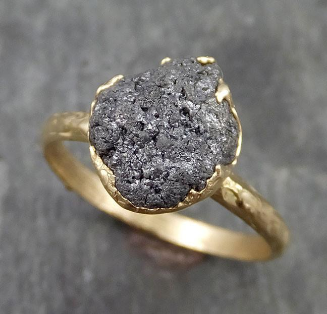 Raw Diamond Solitaire Engagement Ring Rough 14k yellow gold Conflict Free Black Diamond Wedding Promise by Angeline 0523 - Gemstone ring by Angeline
