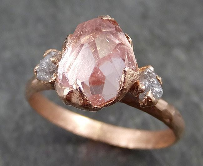 Partially Faceted Pink Topaz Diamond 14k rose Gold Ring One Of a Kind Gemstone Ring Recycled gold byAngeline Multi stone 0527 - Gemstone ring by Angeline